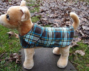 Dog Jacket -  Brown and Turquoise Plaid Corduroy Plaid Coat- Size XX Small- 8 to 10 Inch Back Length - Or Custom Size
