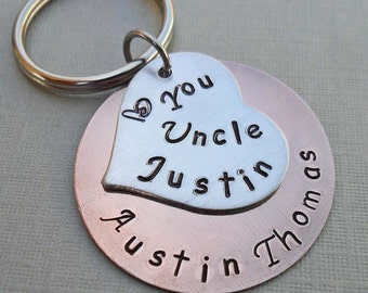 Love You Uncle Keychain - Personalized Aunt Keychain - Custom Name Hand-Stamped Keychain- Gift for Aunt - Uncle Gift -Aunt Gift -K44