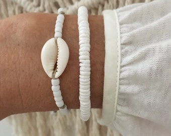 beach bracelets, cowrie shell jewelry, boho style, gift for her