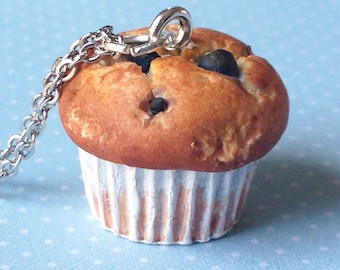 Handmade Blueberry Muffin Charm. Muffin Necklace. Polymer Clay Jewellery. Miniature Food Jewellery. Mother's day Necklace