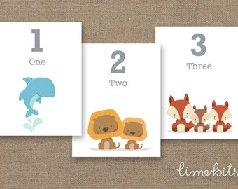 Number Animal Flash Cards PRINTABLE 4x5in
