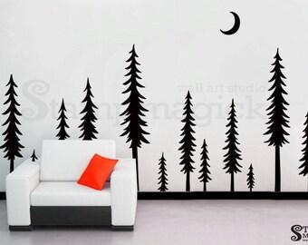 Pine Tree Scenery Wall Decal - Pine Trees Forest Landscape Wall Decor Night - Vinyl Christmas Tree Sticker Home Wall Art Decor  - K438