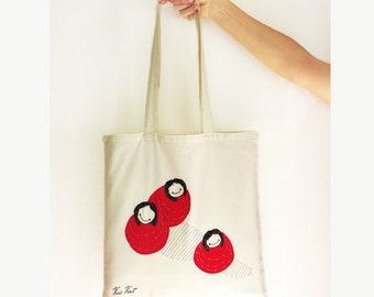 Whimsical illustration Tote handbag embroidered ' Bollekes', Grocery bag, wearable art, beautiful library bag, beach bag, fabric shopper bag