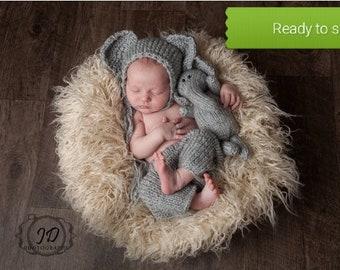 Elephant baby shower - elephant nursery set - Baby elephant outfit - elephant outfits - Elephant photo prop - boy - gray - knit - Woodland
