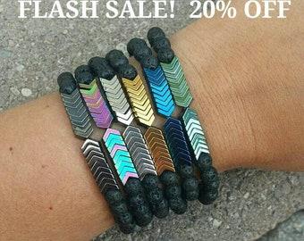 Essential oil diffuser bracelet, chevron bracelet, lava stone bracelet, aromatherapy bracelet, diffuser jewelry, lava rock, diffuser jewelry