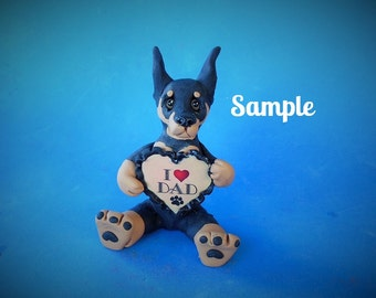 Doberman Pinscher Dog  black and tan cropped ears Father's Day Sculpture love DAD OOAK Clay art by Sallys Bits of Clay