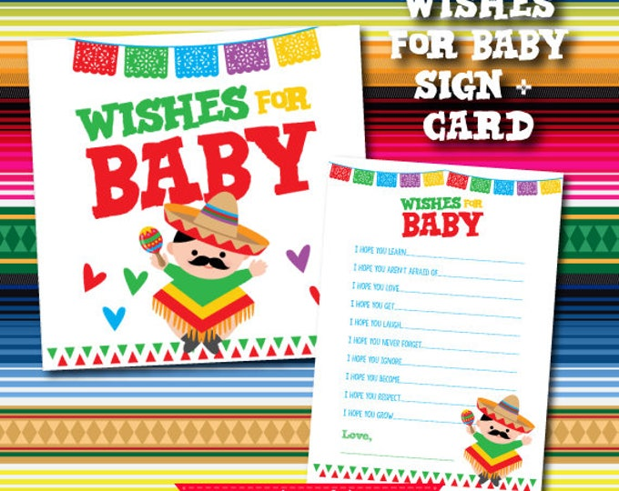 Fiesta Wishes for Baby, Wishes for baby printable, Fiesta Baby Shower Games, Cards and sign pack, Instant Download
