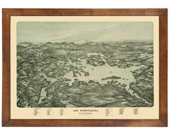 Lake Winnipesaukee, NH 1903 Bird's Eye View; 24x36 Print from a Vintage Lithograph