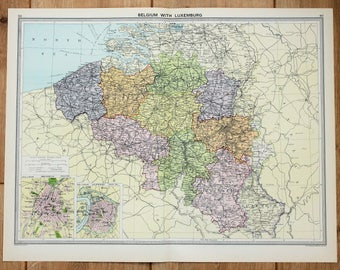 Antique Map : Belgium, Luxembourg, Brussels Antwerp, Europe, Philips c. 1920. Lovely Pastel Colours