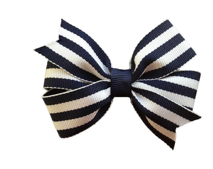 Navy blue striped hair bow - hair bows, bows, hair clips, hair bows for girls, baby bows, girls hair bows, pigtail bows, toddler hair bows