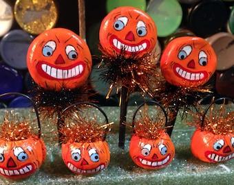Three pumpkin bucket jol or lolli pop vintage style Halloween ornaments