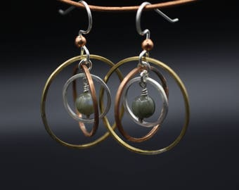 Three Circle Dangles with Stone