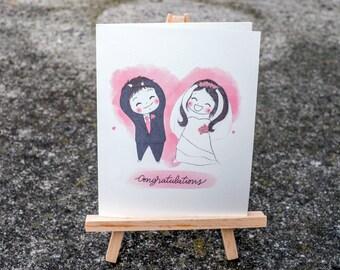 Wedding Engagement Congratulations Card /Wedding Congrats /Cute Couple Wedding Card/Engagement Congrats Card/Bride and Groom Card /Cute Card