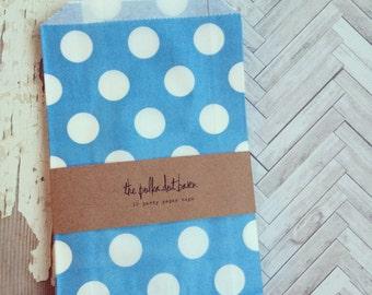 Blue Polka Dot Party bags, set of 10 - Polka Dot Treat Bag - Candy Buffet bag - Favor bag - Polka Dot Party sack - Polka Dot treat bag - Bag