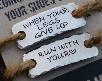 running shoelace tags {SETofTWO} .  RUN WITH HEART . runners gift.  Gift for Marathoner .  running tags