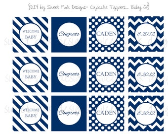 Blue Chevron Cupcake Toppers