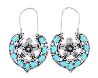 Beautiful Blue Chalcedony 925 Silver Earrings