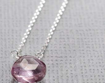 Light Pink Quartz Little Rock Sterling Silver Necklace