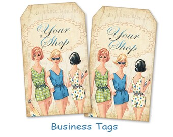Fashion business tags Gift tags Personalized retro tags Digital tags on Digital collage sheet
