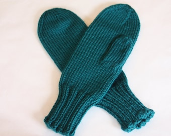 Teal Mittens for Adults - Traditional Mittens - Old Fashioned Mittens - Turquoise Adult Mittens - Knit Mittens - Knit Pagoda Mittens