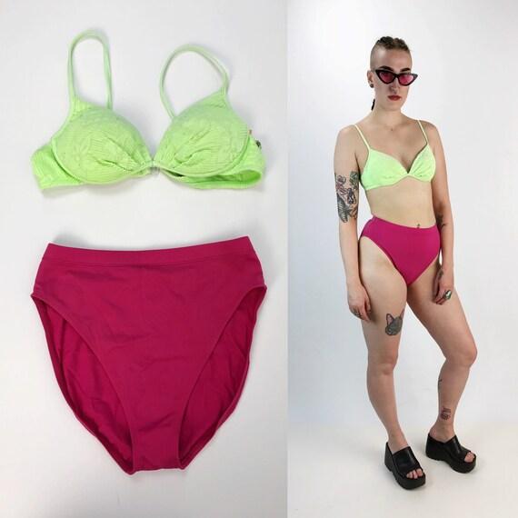 80's 2 Piece NEON High Waist Bikini Top & Bottom Small - Neon Green Pushup Bikini Vintage Swimsuit - Sexy Mixed Match High Cut Bathing Suit