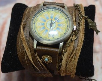 Brown Wrap Watch, Women Leather Watch, Leather Wrap Watch, Double Wrap Watch, Wrap Around Watch, Quartz Watch, Gifts For Her, Gift For Women