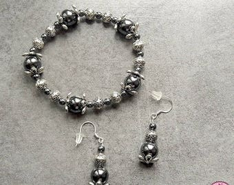Set bracelet and earrings in Hematite