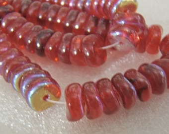 Limited Qty - Strands of Beautiful Red AB Wavey Rondelles/Discs Glass Beads