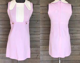 1960's Mod Sleeveless Minidress - Lilac Purple Dress with White Dog Ear Collar - Genesco Inc. - Size Small - Babydoll