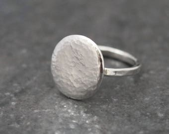 Chunky Pebble Silver Ring - Hammered Silver - Statement Ring - Natural Ring - Simple Silver Ring - Earthy - Natural - Size Q1/2