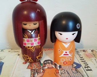 Vintage Japanese Wooden Kokeshi doll handpainted plus Kimmi doll pair lot instant collection souvenir kitsch