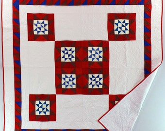 Red, White & Blue Ohio Star design FINISHED QUILT - Unique Medallion Quilt