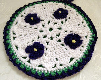 Crocheted Hot Mat Trivet Pot Holder 100% Cotton Yarn Double Thickness Violet Decorations