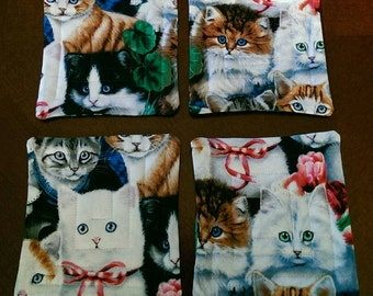 CATS!! Reversible Fabric quilted coasters - set of four