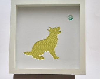 Dog silhouette framed picture
