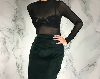 90's Vintage Forest Green Suede Skirt | Leather Mini Skirt | S