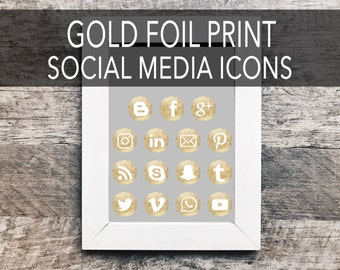 Gold Foil Print Social Media Icons | Social Sharing Icons, Social Media Buttons, Social Media Vectors, Gold Social Icons, Blog Icons, Button