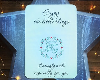 Enjoy the little things quote card with choice of charm madebygreenberry wish bracelet