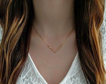 Gold V Necklace/ Silver V Necklace / Chevron Necklace / Gold Filled V Necklace / Sterling Silver V Necklace