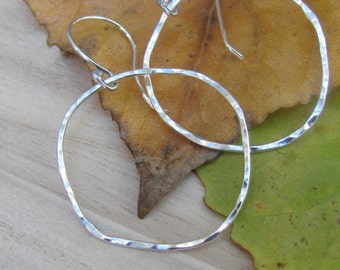 Hammered Silver Earrings, Sterling Silver Hoop Earrings, Silver Dangle Earrings