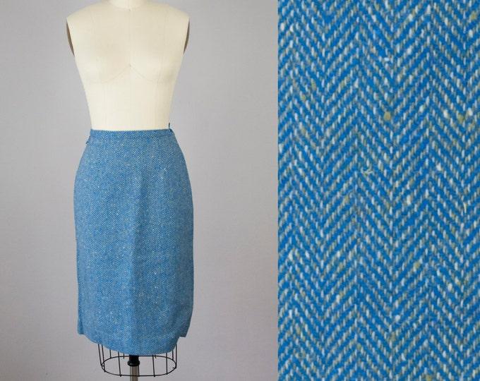 """1950s Vintage Blue and Sage Wool Tweed Herringbone Pencil Skirt (XS, S; 25"""" Waist)"""