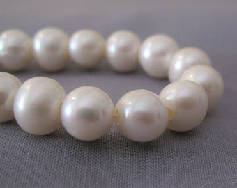 10-11mm Half Strand Large Hole High Luster Potato Natural White Freshwater Pearl Beads, 2.2mm Hole Genuine Freshwater Pearls (LHWH-067)
