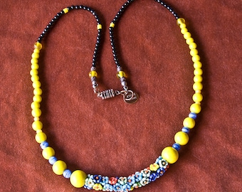 Long Czech Glass Flowers Necklace Vintage Glass Beads Yellow Black Blue Red