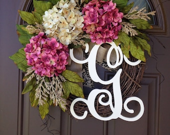 Summer Wreath Front Door- Monogrammed Hydrangea Wreath -Grapevine Wreath with Burlap - Front Door Wreath with Initial - Housewarming Gift