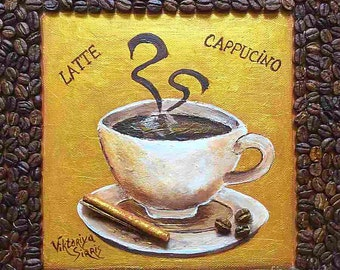 Coffee painting, 3D Mixed Media, Cup Of Coffee art,coffee beans art,3D acrylic painting , coffee painting gift,cinnamon art, coffee gift