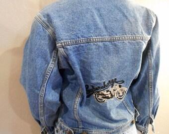 Vintage Denim Jacket; embroidered,
