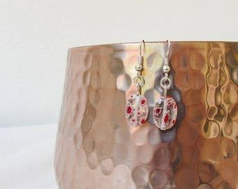 CLEARANCE Red White glass earrings, small dangle earrings, millfiori glass oval earrings, simple lightweight earrings, handmade in the UK
