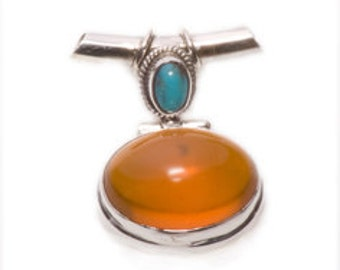 Fine Vintage design Silver Amber/Turquoise Pendant -  with a Silver Chain.