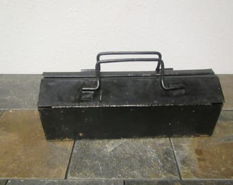 Old Black Toolbox , Tool chest , tackle box , tackle chest, older Patina, still useable