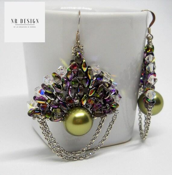 Swarovski earrings and glass beads